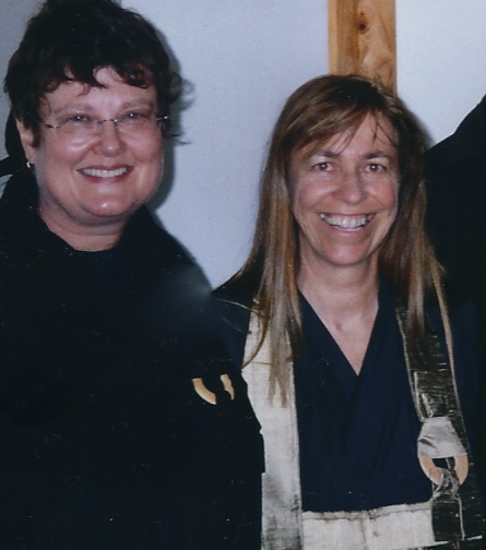 Merran Dawson (Left), Roshi Susan Murphy - after Merran took jukai at Gorricks Run in 2005.